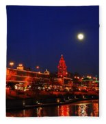 Full Moon Over Plaza Lights In Kansas City Fleece Blanket