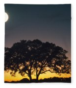 Full Moon Over Silhouetted Tree Fleece Blanket