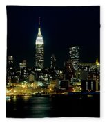 Full Moon Rising - New York City Fleece Blanket