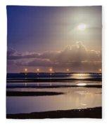 Full Moon Rising Over Sandgate Pier Fleece Blanket