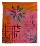 Fun Flowers In Pink And Orange 1 Fleece Blanket