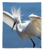 Fun Snowy Egret Fleece Blanket