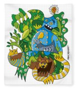 Funky Animals Nature Doodle Fleece Blanket