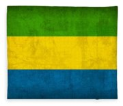Gabon Flag Vintage Distressed Finish Fleece Blanket