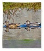 Gadwall Pair Swimming Together Fleece Blanket