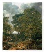 Gainsboroughs Forest Cornard Wood, C.1748 Oil On Canvas Fleece Blanket