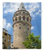 Galata Tower Landmark In Istanbul Turkey Fleece Blanket