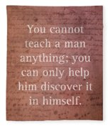 Galileo Quote Science Astronomy Math Physics Inspirational Words On Canvas Fleece Blanket