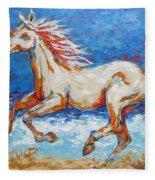 Galloping Horse On Beach Fleece Blanket