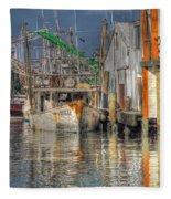 Galveston Shrimp Boats Fleece Blanket