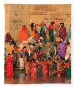 Ganges Pilgrims Fleece Blanket