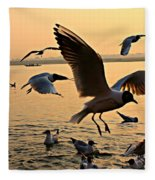 Ganges River Gulls Fleece Blanket