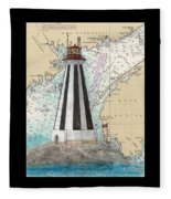 Gannet Rock Lighthouse New Brunswick Canada Nautical Chart Art Fleece Blanket