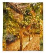 Garden Flowers With Bench Photo Art 02 Fleece Blanket