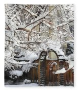 Garden Gate In Winter Fleece Blanket