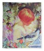 Garden Girl - Antique Collage Fleece Blanket