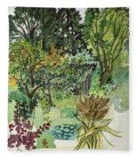 Garden In Llandielo, 1999 Watercolour On Paper Fleece Blanket