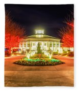 Garden Night Scene At Christmas Time In The Carolinas Fleece Blanket