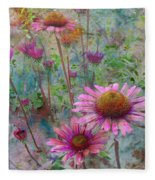 Garden Pink And Abstract Painting Fleece Blanket