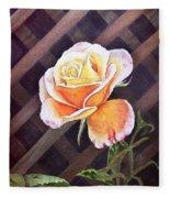 Garden Tea Rose Fleece Blanket