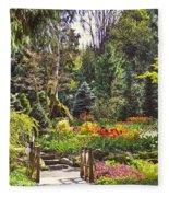 Garden With A Bridge Fleece Blanket