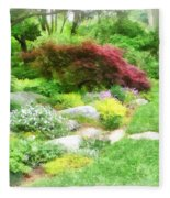 Garden With Japanese Maple Fleece Blanket