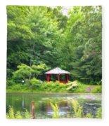 Garden With Pond Fleece Blanket