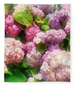 Gardens - Pink And Lavender Hydrangea Fleece Blanket