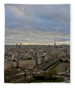 Gargoyle And The Eiffel Tower Fleece Blanket