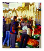 Garlic Festival Farmers Market Food Vendors Onions Garlic Farm Fresh Chef Art Carole Spandau Fleece Blanket