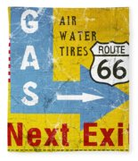 Gas Next Exit- Route 66 Fleece Blanket