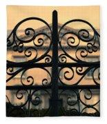 Gate In Front Of Mansion Fleece Blanket