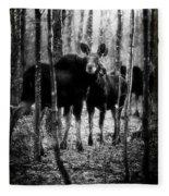 Gathering Of Moose Fleece Blanket