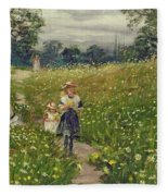 Gathering Wild Flowers  Fleece Blanket