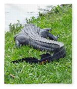 Gator In The Grass Fleece Blanket