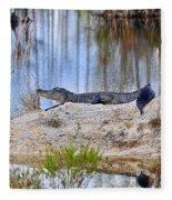 Gator On The Mound Fleece Blanket