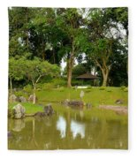 Gazebo Trees Lake And Rock Garden In Singapore Chinese Gardens Fleece Blanket