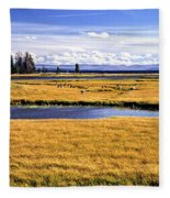 Geese At Yellowstone Lake Fleece Blanket