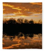 Geese Fly In The Sunset Fleece Blanket