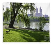 Geese In Central Park Nyc Fleece Blanket