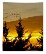 Geese In Golden Sunset Fleece Blanket