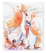Geese In Spanish Winter Fleece Blanket