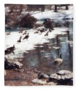 Geese On An Icy Pond Fleece Blanket