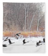 Geese Over Maumee River Fleece Blanket