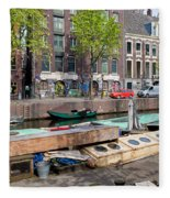 Geldersekade Canal In Amsterdam Fleece Blanket