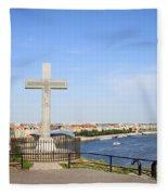 Gellert Hill Cross In Budapest Fleece Blanket