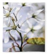 Gentle White Spring Flowers Fleece Blanket