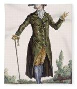 Gentleman In Green Coat, Plate Fleece Blanket