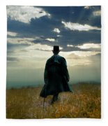 Gentleman In Top Hat Walking In Field Fleece Blanket
