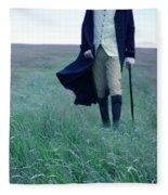 Gentleman Walking In The Country Fleece Blanket